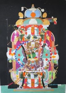 Tavoletto, 2013. 250cm x 130cm Oil stick and acrylic on collaged paper